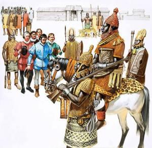 The Oba of Benin receiving portuguese explorers